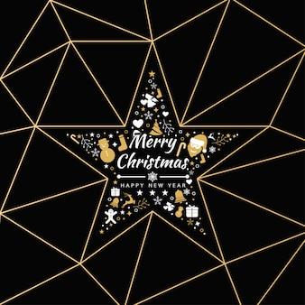 Fondo di buon natale con l'insegna delle icone della stella dell'elemento, fiocchi di neve. illustrazione vettoriale