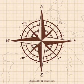 Fondo di bussola mappa disegnata a mano