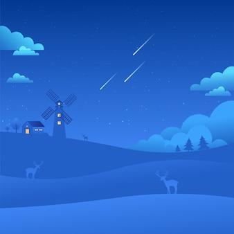 Fondo di caduta delle stelle delle stelle del paesaggio del paesaggio del cielo blu del mulino a vento