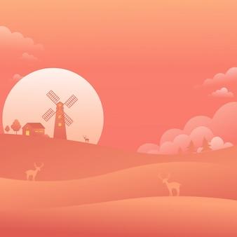 Fondo di caduta delle stelle delle stelle del paesaggio del paesaggio del cielo di alba rossa del mulino a vento