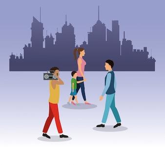 Fondo di camminata della città della radio del tipo del ragazzo della ragazza