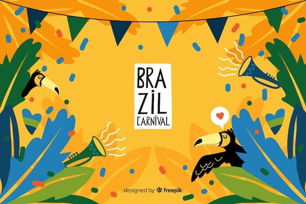 Fondo di carnevale brasiliano disegnato a mano