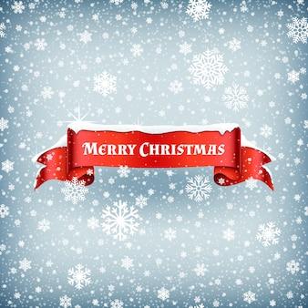 Fondo di celebrazione di buon natale con la neve di caduta e l'illustrazione rossa di vettore del nastro dell'insegna. bandiera del nastro di natale con fiocco di neve