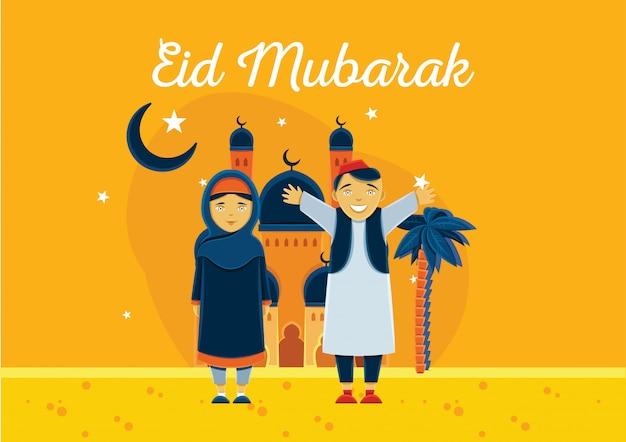 Fondo di celebrazione di eid mubarak con il bambino arabo e moschea sullo sfondo