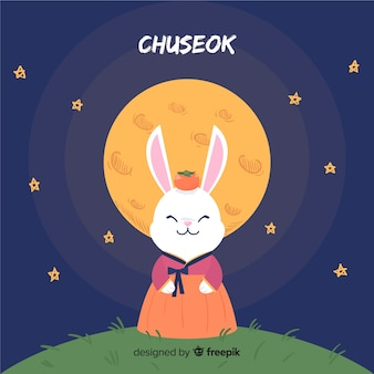 Fondo di chuseok felice disegnato a mano