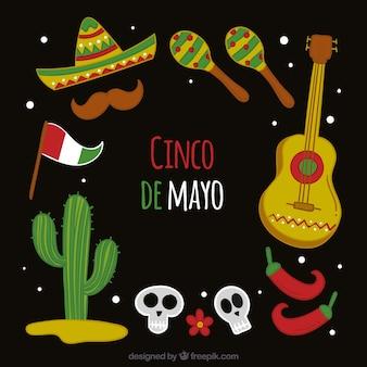 Fondo di cinco de mayo con stile disegnato degli elementi messicani a disposizione