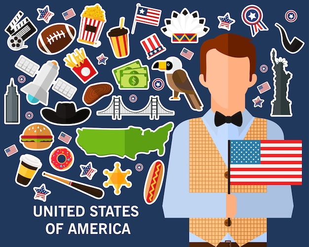 Fondo di concetto degli stati uniti d'america icone piane
