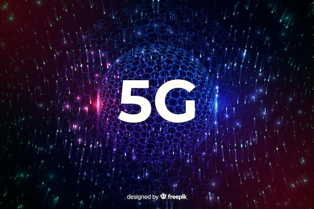 Fondo di concetto del collegamento a internet 5g con un globo della discoteca