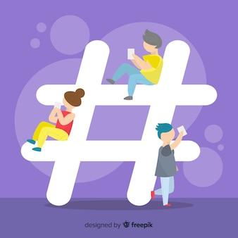 Fondo di concetto del hashtag dei giovani