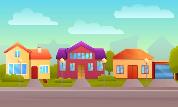Fondo di concetto della casa del cottage, stile del fumetto