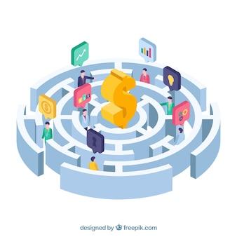 Fondo di concetto di affari del labirinto