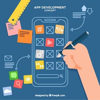 Fondo di concetto di affari di sviluppo di app