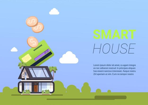 Fondo di concetto di amministrazione domestica di pagamento della carta di credito di tecnologia dello smart house con lo spazio della copia