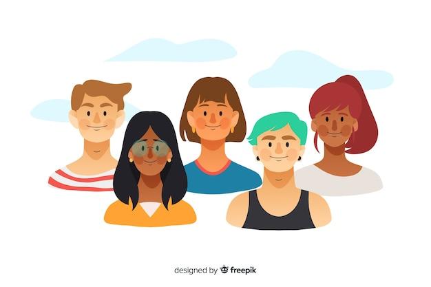 Fondo di concetto di diversità disegnato a mano