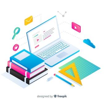 Fondo di concetto di formazione online isometrica