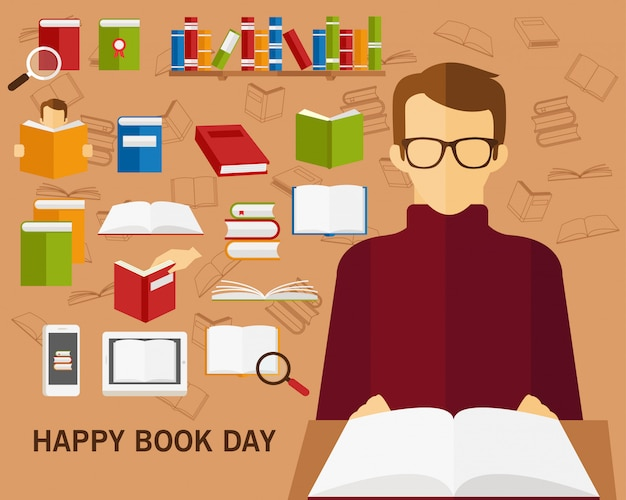 Fondo di concetto di giorno del libro felice