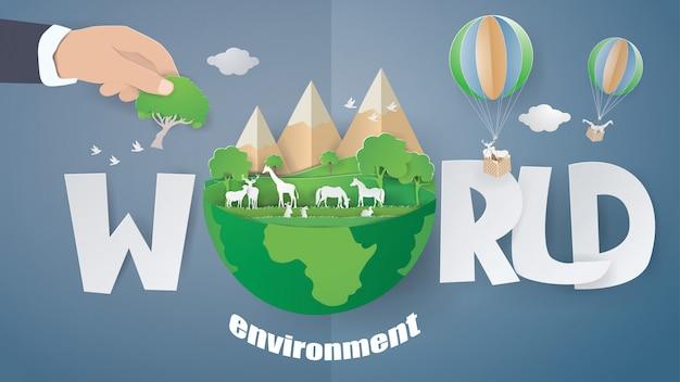 Fondo di concetto di mondo ambiente e eco terra giorno.