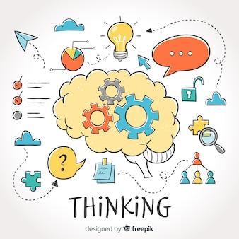 Fondo di concetto di pensiero disegnato a mano