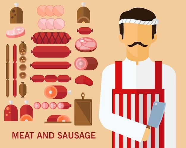 Fondo di concetto di prodotti a base di carne. icone piatte.