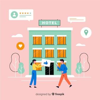 Fondo di concetto di recensione hotel piatto