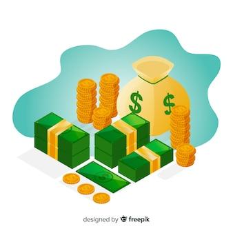 Fondo di concetto di risparmio di denaro isometrica
