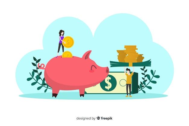 Fondo di concetto di risparmio di denaro piatto