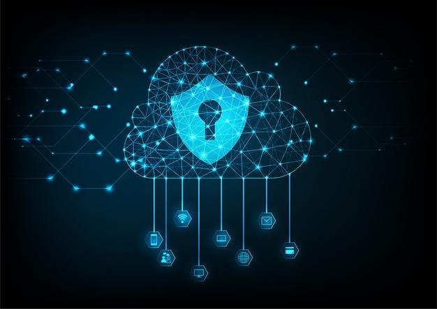 Fondo di concetto di sicurezza dei dati della nuvola