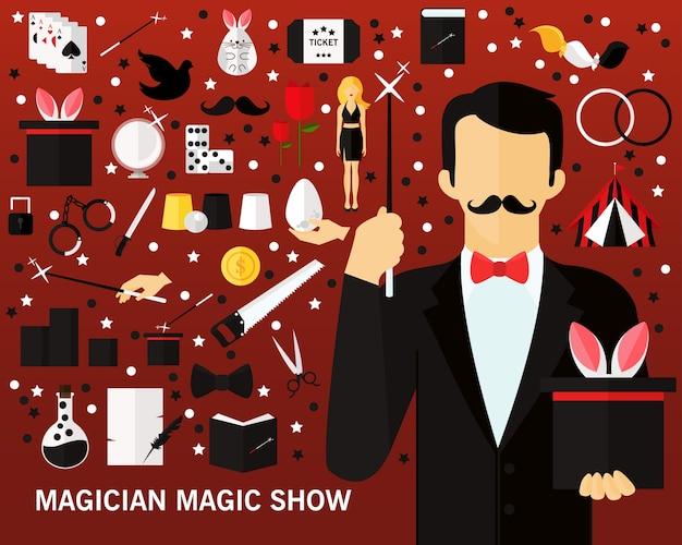 Fondo di concetto di spettacolo magico del mago. icone piatte.
