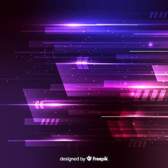 Fondo di concetto di tecnologia con luce al neon