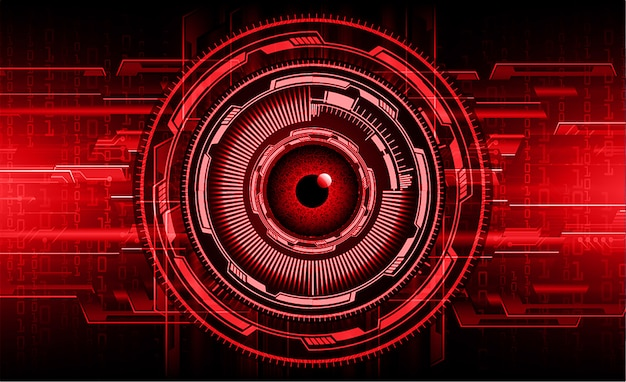 Fondo di concetto di tecnologia del circuito cibernetico dell'occhio rosso