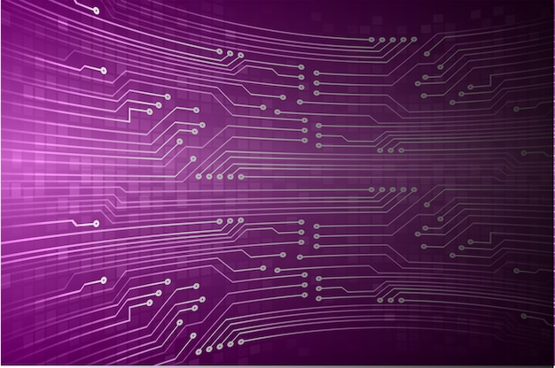 Fondo di concetto di tecnologia del futuro circuito cyber viola