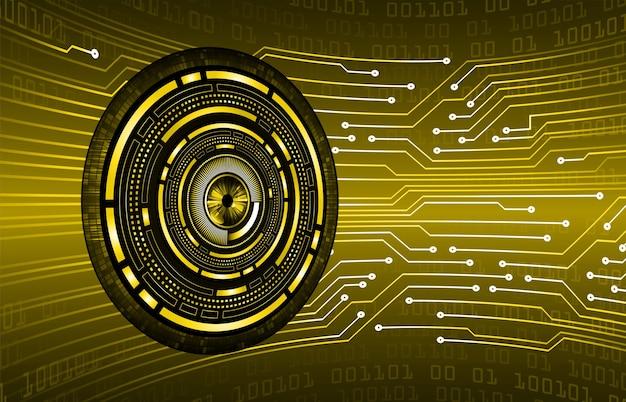 Fondo di concetto di tecnologia futura del circuito cyber dell'occhio giallo