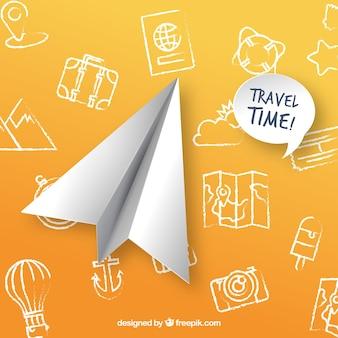 Fondo di concetto di viaggio con aereo di carta