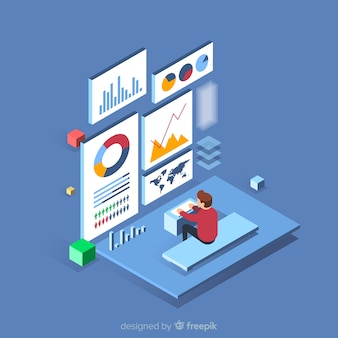 Fondo di concetto di visualizzazione di dati isometrici