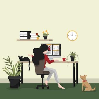 Fondo di concetto domestico della forma di lavoro della donna che lavora nella stanza a casa sua.