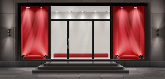 Fondo di concetto, facciata del negozio di boutique con l'insegna.