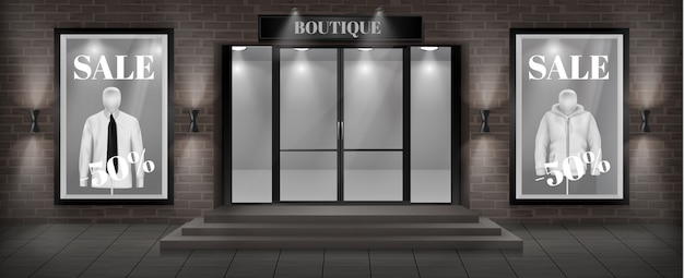 Fondo di concetto, facciata del negozio di boutique con l'insegna