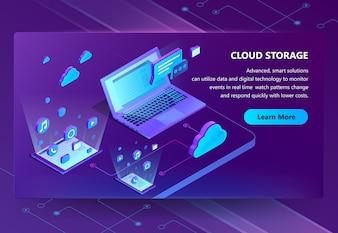 Fondo di concetto isometrico di archiviazione della nuvola