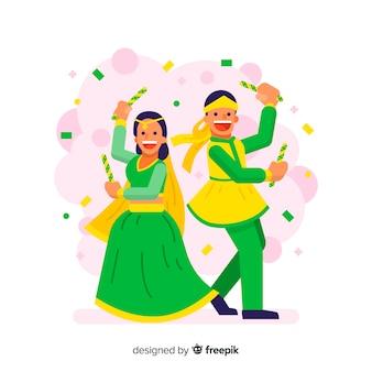 Fondo di dandiya dei coriandoli delle coppie di dancing