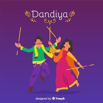 Fondo di dandiya dell'ornamento delle coppie di dancing
