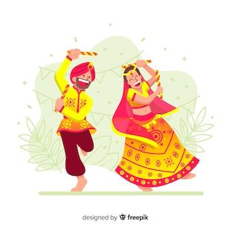 Fondo di dandiya delle coppie di dancing