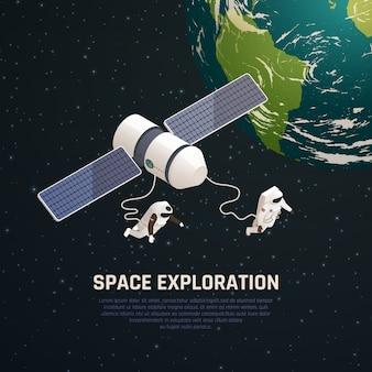 Fondo di esplorazione spaziale con l'illustrazione isometrica di simboli di ricerca dello spazio cosmico
