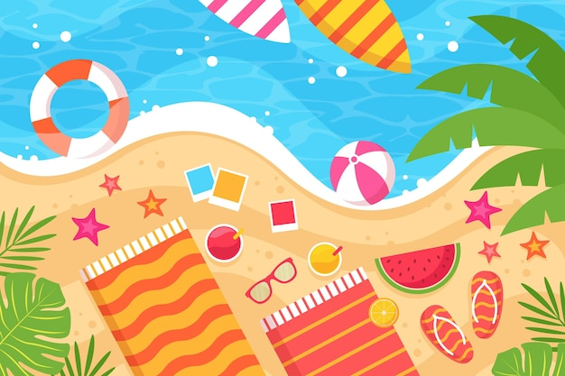 Fondo di estate degli accessori della spiaggia e dell'acqua