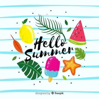 Fondo di estate disegnato a mano ciao