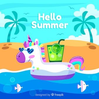 Fondo di estate galleggiante unicorno disegnato a mano
