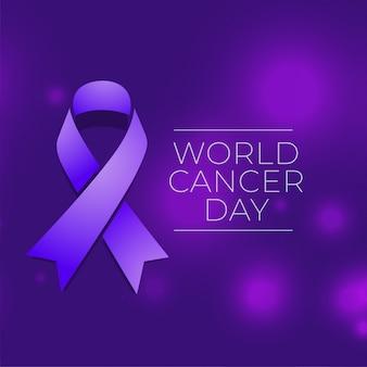 Fondo di evento di giornata mondiale del cancro con il nastro