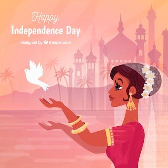 Fondo di festa dell'indipendenza dell'india con la donna e il piccione