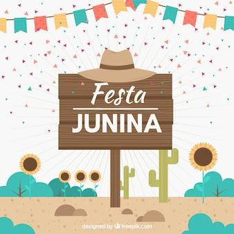 Fondo di festa junina con cartello in legno