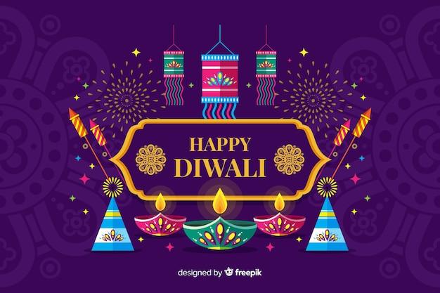 Fondo di festival di diwali di progettazione piana con le candele