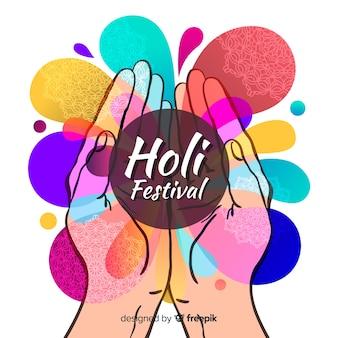 Fondo di festival di holi disegnato a mano